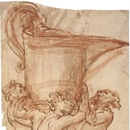 Jarra de vino llevada por tres sátiros / Figura femenina sentada en el suelo