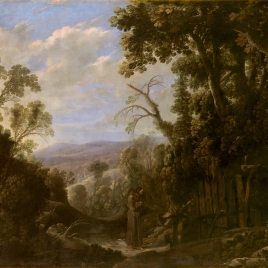 Landscape with Hermit bound in Chains