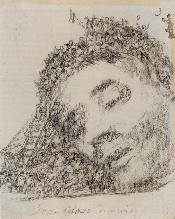 Gran coloso dormidoFrancisco de GoyaLápiz litográfico, Álbum G3, 1824-28Ant. col. Gerstenberg, Berlín. Museo del Hermitage, San Petersburgo