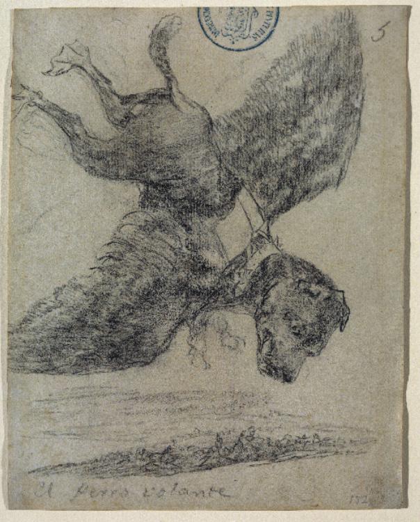 El perro volanteFrancisco de GoyaDibujo a lápiz negro, 1824-1828Madrid, Museo del Prado