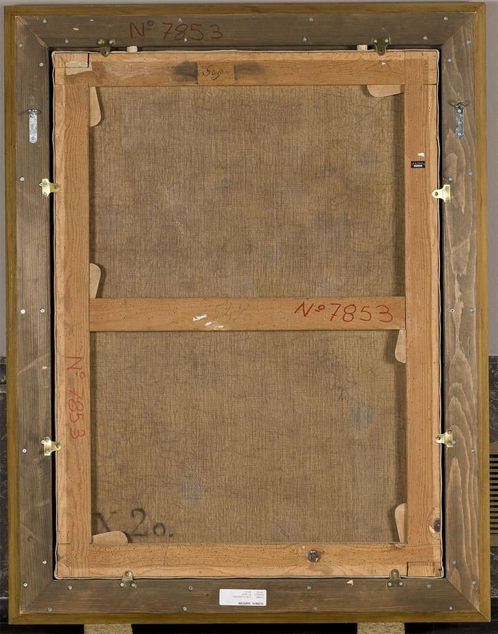 <p>Francisco de Goya,&nbsp;<em>San Juan Bautista ni&ntilde;o, en el desierto</em>, hacia 1810-12, reverso del lienzo con &ldquo;X.20&rdquo;, en negro, correspondiente al Inventario de 1812, en su versi&oacute;n de 1814, de los bienes de Goya</p>