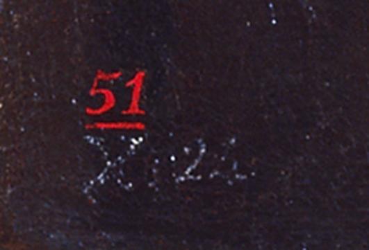 """Francisco de Goya,Maja y Celestina al balcón, (detalle de """"X.24"""" del inventario de 1812 versión de 1814 de los bienes de Goya; el """"51"""" en rojo, posible número del inventario de la colección Acebal y Arratia, antes de 1840) hacia 1810-1812, Madrid, colección particular"""
