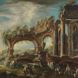 Paisaje con ruinas y figuras
