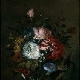Glass Vase with Roses and other Flowers