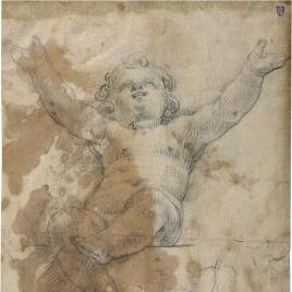 Niño desnudo con los brazos en alto