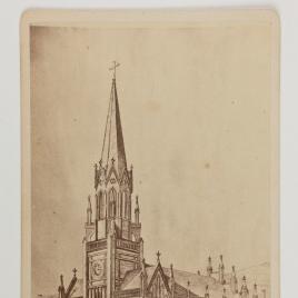 Exterior de una iglesia neogótica. Dibujo