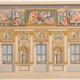 Vista de la Galería Carracci, pared sur, en el palacio Farnese