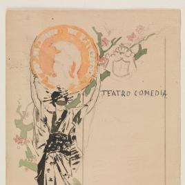 Boceto para el cartel del primer baile de máscaras del Círculo de Bellas Artes