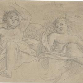 Estudio de dos ángeles sentados sobre el derrame de un arco