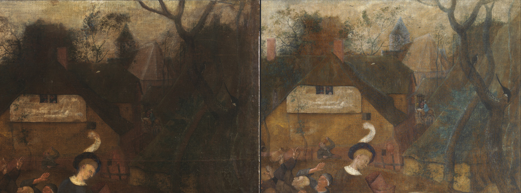 Left: Detail of the upper right corner prior to restoration.Right: The same scene. After cleaning it has recovered a sense of light and depth.