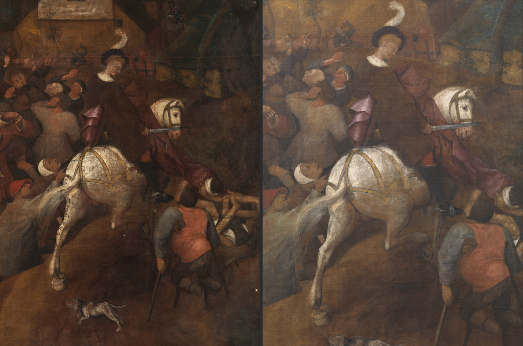 Left: The figure of Saint Martin, covered in dirt and areas of repainting, prior to restoration.Right: Restoration has recovered the original colour and volumes.