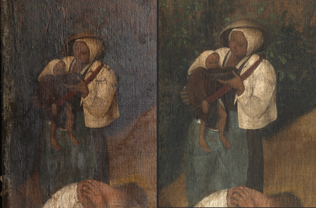 Left: Figure of a woman giving her baby wine from a bowl, prior to restoration.Right: The restoration has recovered the feeling of space and of the figures being located in an environment.