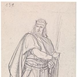 Estudio preparatorio para Alfonso I / Esbozo de figura femenina clásica