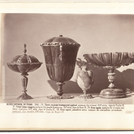 Fluted goblet with a tall stem and rubies, Fluted heliotrope goblet with turquoises, Agate urn with masks, Boat-shaped cup with a band of birds and flowers on the mount