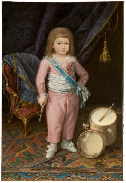 El infante Carlos María Isidro de Borbón, niño, con tambor y pandereta