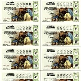 Capilla de billete de Lotería Nacional para el sorteo de 25 de agosto de 1972