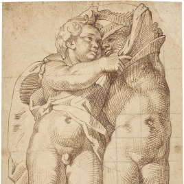 Two semi-nude Putti Embracing, One Male and the other Female
