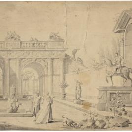 Perspectiva arquitectónica con personajes a la moda del siglo XVIII