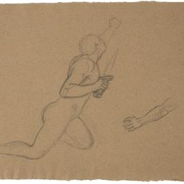 Estudio de desnudo masculino arrodillado con una espada en la mano. Estudio de brazo izquierdo