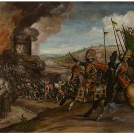 Batalla de Gascona y batería de un castillo