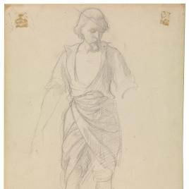Estudio de hombre con perilla, con la camisa abierta / Caballero del Renacimiento con una esfera en la mano