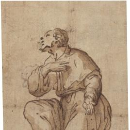 Estudio de figura masculina semiarrodillada
