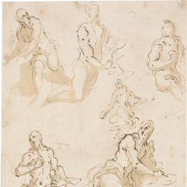 Seven studies for a figure of the penitent St. Jerome