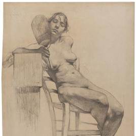 Desnudo de mujer sentada con paipay