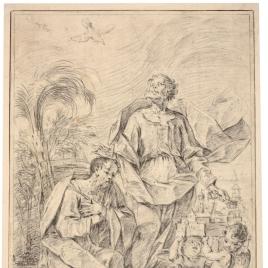 San Pedro recibe a un santo obispo