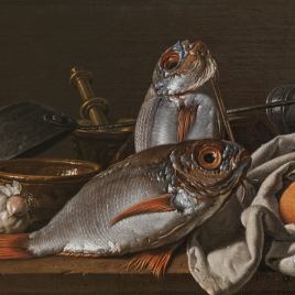 Still Life with Breams, Oranges, Garlic, Seasoning and Kitchen Utensils