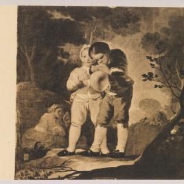 Niños inflando una vejiga