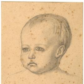 Estudio de la cabeza del Niño Jesús (Mater Salvatoris. Capilla de las Letanías de la Iglesia de Notre Dame de Lorette, París).