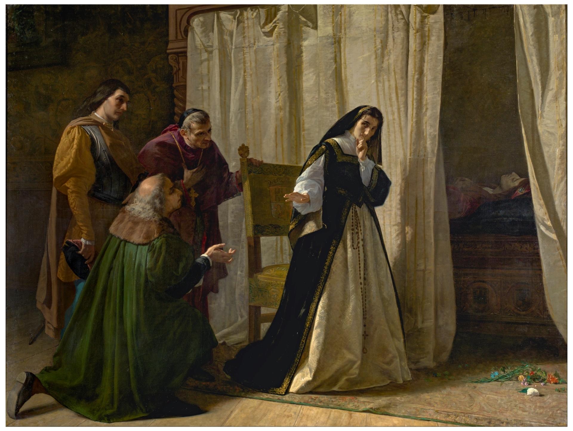 Resultado de imagen de Demencia de doña Juana de Castilla Lorenzo Vallés 1866. Óleo sobre lienzo