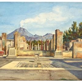 Vista de Pompeya con el Vesubio al fondo