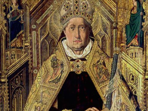 <em>Santo Domingo de Silos entronizado como obispo</em>, Bartolomé Bermejo, comentado por Gonzalo Borrás