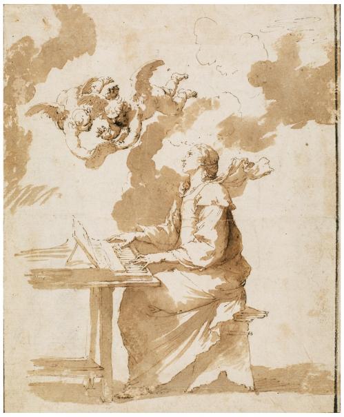Santa Cecilia / Estudio de un vestido de mujer sobre un maniquí visto de espaldas