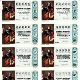 Capilla de billete de Lotería Nacional para el sorteo de 20 de julio de 1974