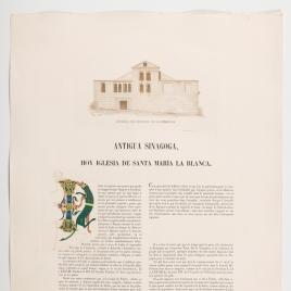 Página de texto sobre Santa María la Blanca de Toledo, ilustrada