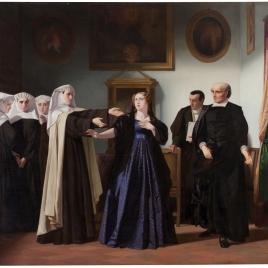 Doña Mariana de Pineda, en el momento de despedirse de las beatas de Santa María Egipciaca, en cuyo beaterio estaba presa, para ir a la capilla