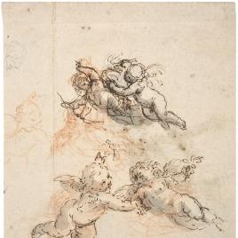 Estudio de cuatro amorcillos volando, uno de ellos con arco / Figura femenina con flores