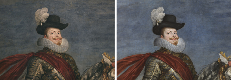<p><em>Figure 1</em>. Detail of the face of Philip III before and after restoration</p>