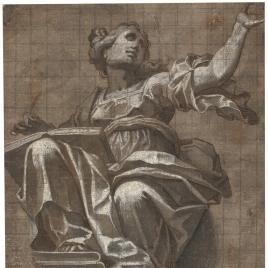 Sibila sentada sobre una ménsula
