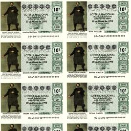 Capilla de billete de Lotería Nacional para el sorteo de 22 de mayo de 1993