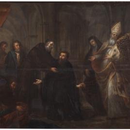 San Ambrosio imponiendo el hábito a San Agustín