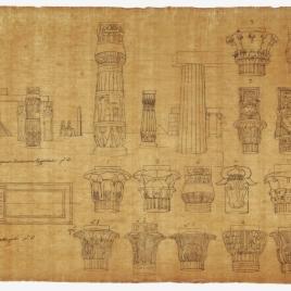 Capiteles y columnas de arquitecturas egipcias, planta del templo de Horus en Edfú, Egipto