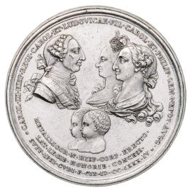 El cuerpo de la Minería de Nueva España en testimonio de reconocimiento a Carlos III por su creación, y por el nacimiento de los infantes Carlos y Felipe