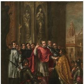 San Ambrosio niega a Teodosio la entrada al templo