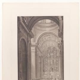 Vista de la nave principal del templo y procesión del Corpus Christi, Real Monasterio de San Lorenzo de El Escorial
