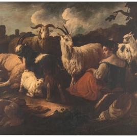 Pastora con cabras y ovejas