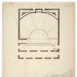 Planta y vista de la escalinata de un teatro en Pompeya